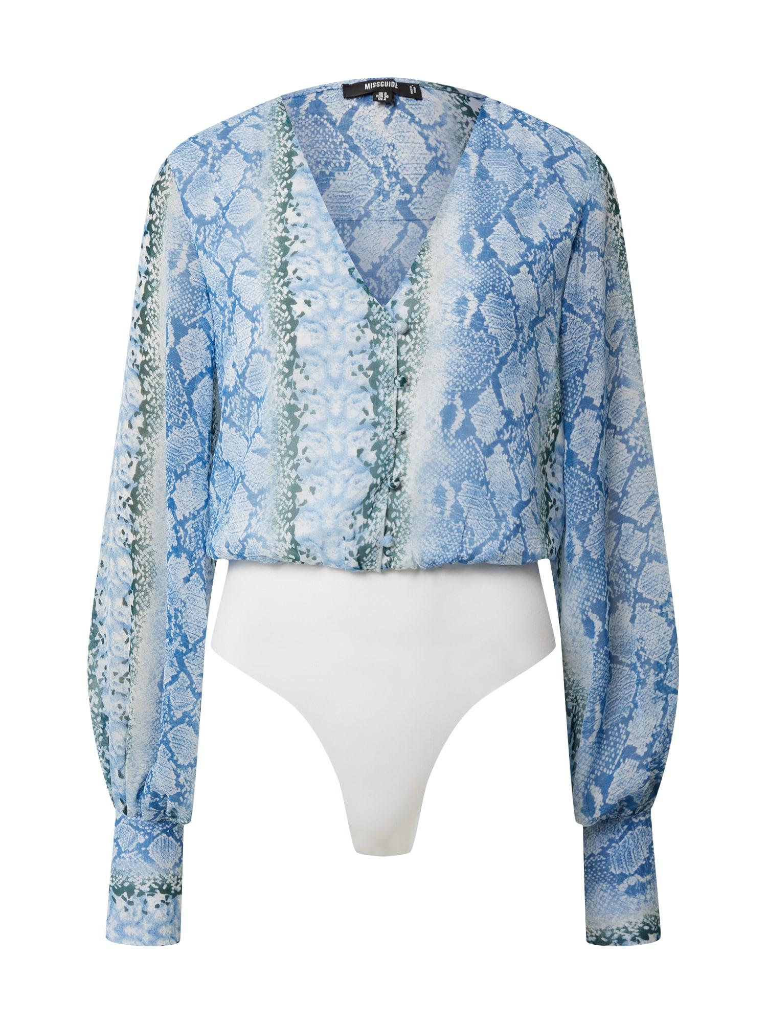 Missguided Marškinėliai-glaustinukė 'FLORAL CHIFFON BUTTON FRNT LONG SLV BODY' balta / mėlyna / tamsiai žalia