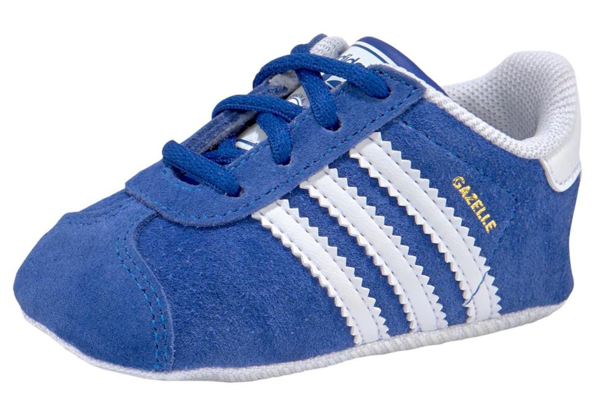 ADIDAS ORIGINALS Pirmieji vaiko vaikščiojimo bateliai 'GAZELLE CRIB' mėlyna / balta