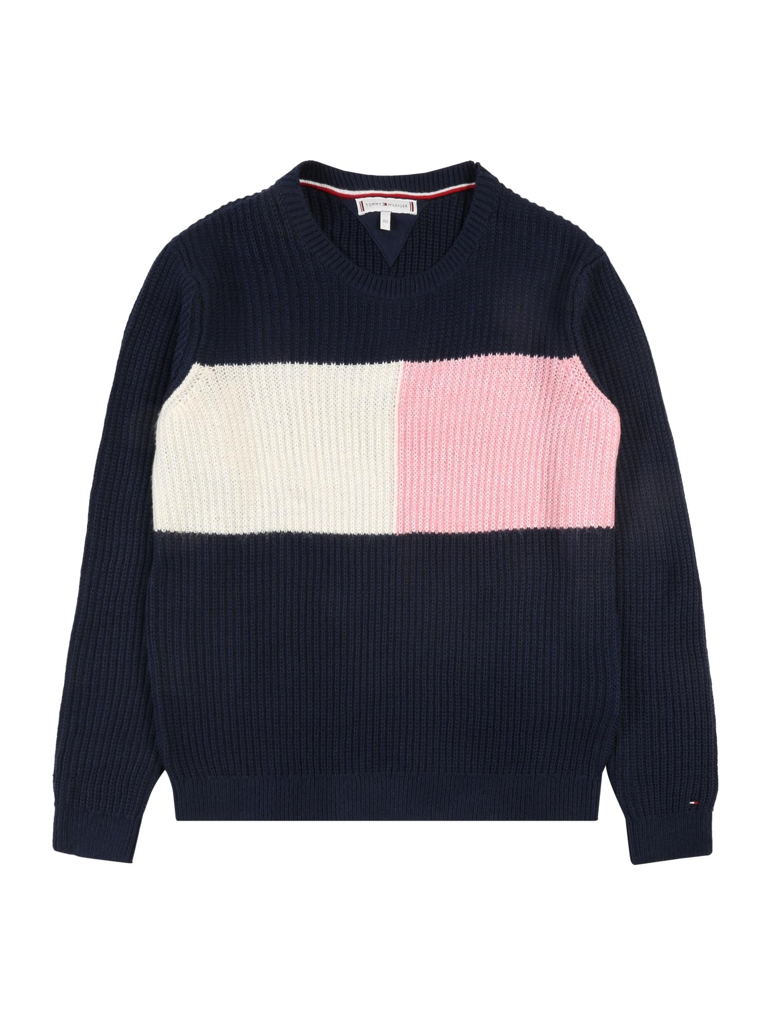 TOMMY HILFIGER Megztinis 'COLOURBLOCK SWEATER' tamsiai mėlyna / ryškiai rožinė spalva / natūrali balta