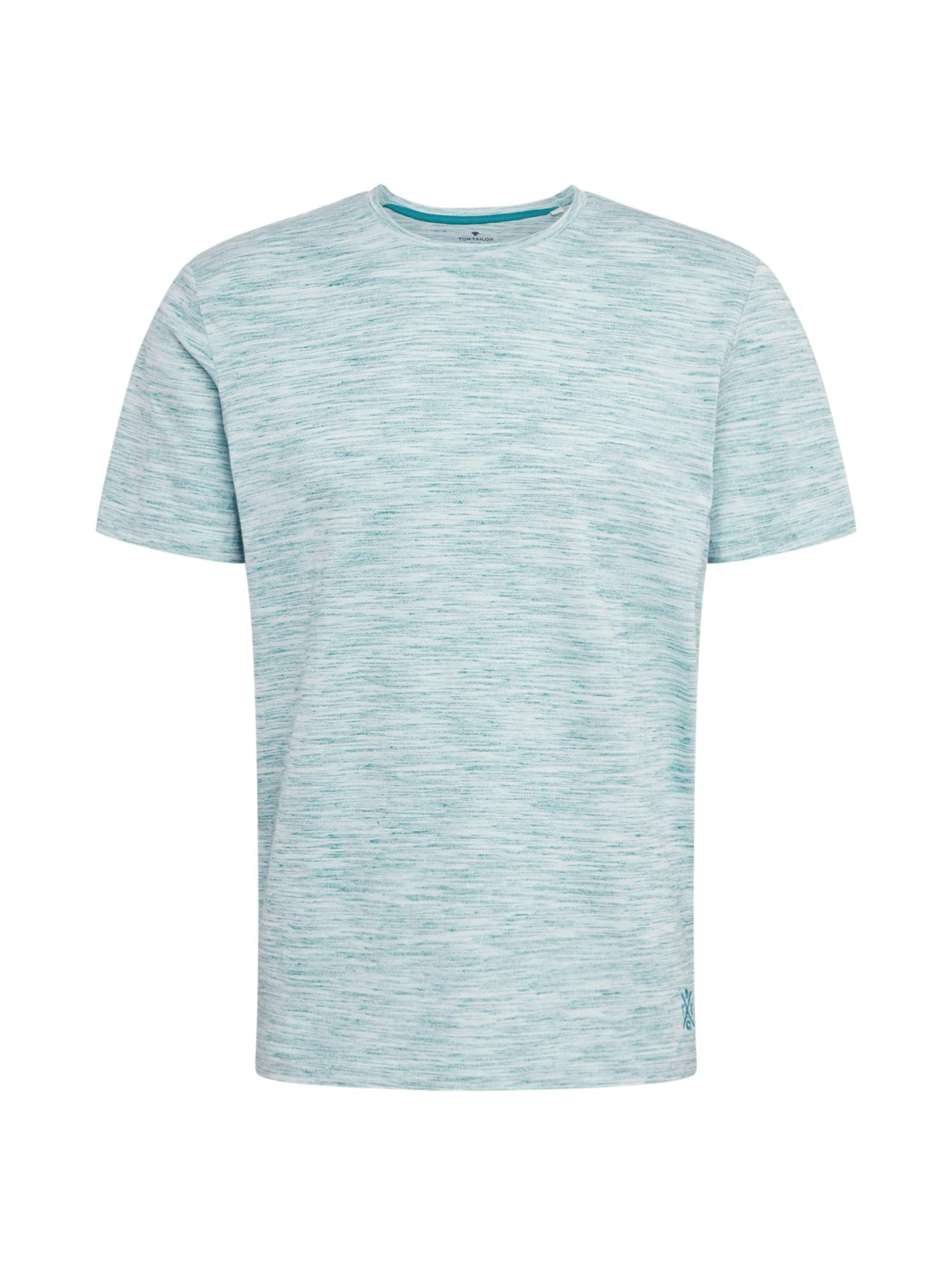 TOM TAILOR Tričko  šedobiela / zelená