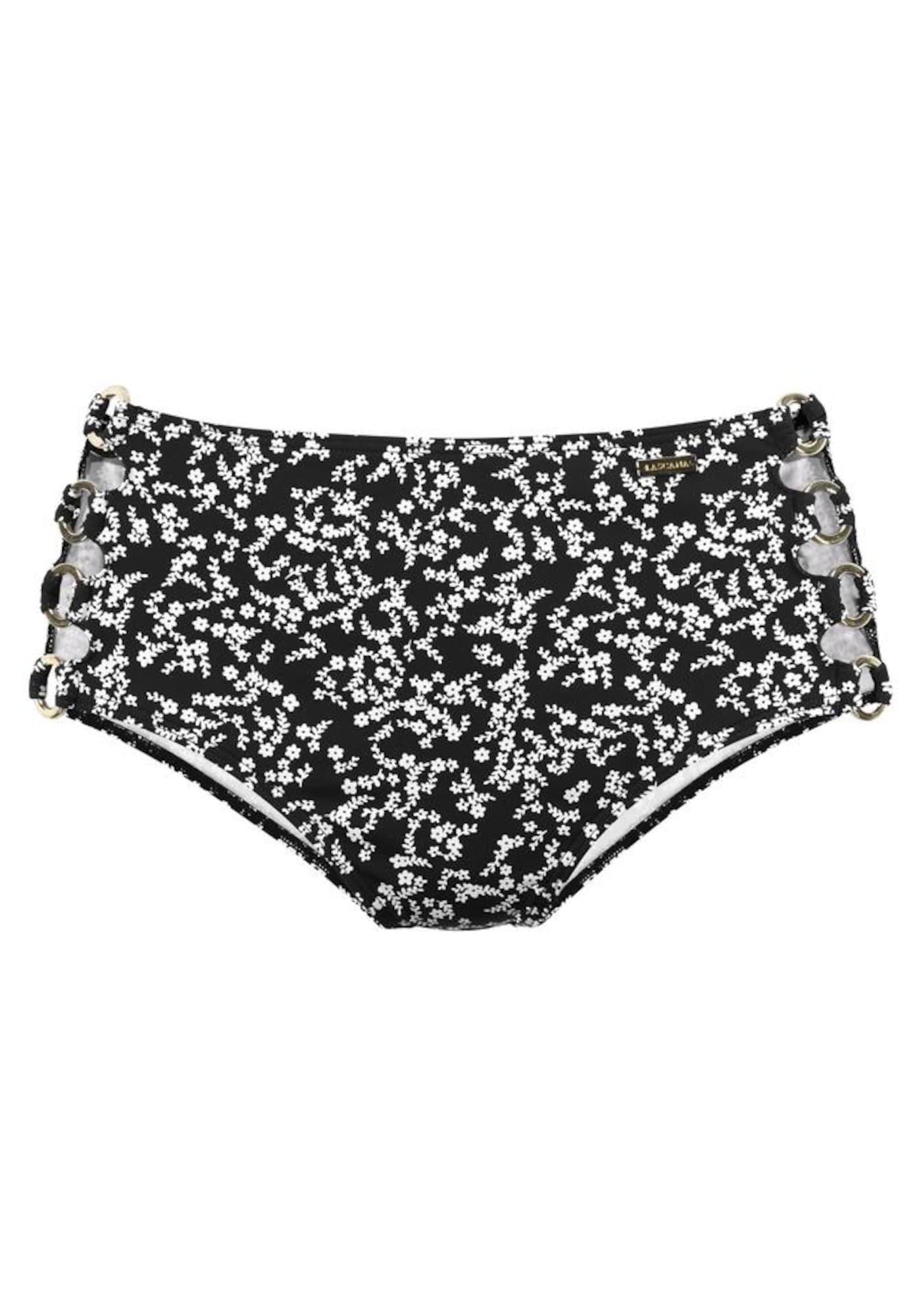 LASCANA Bikinové nohavičky 'Meadow'  čierna / biela