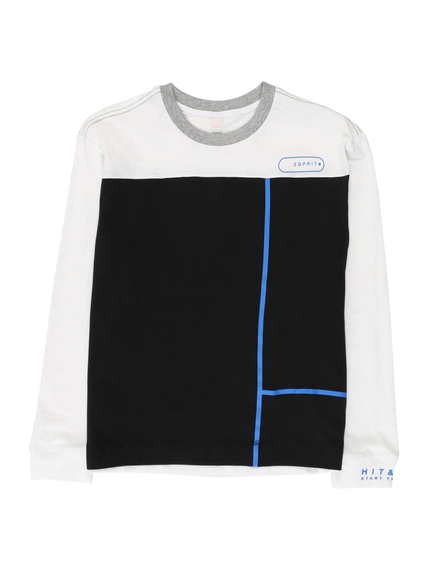 ESPRIT Marškinėliai juoda / balta
