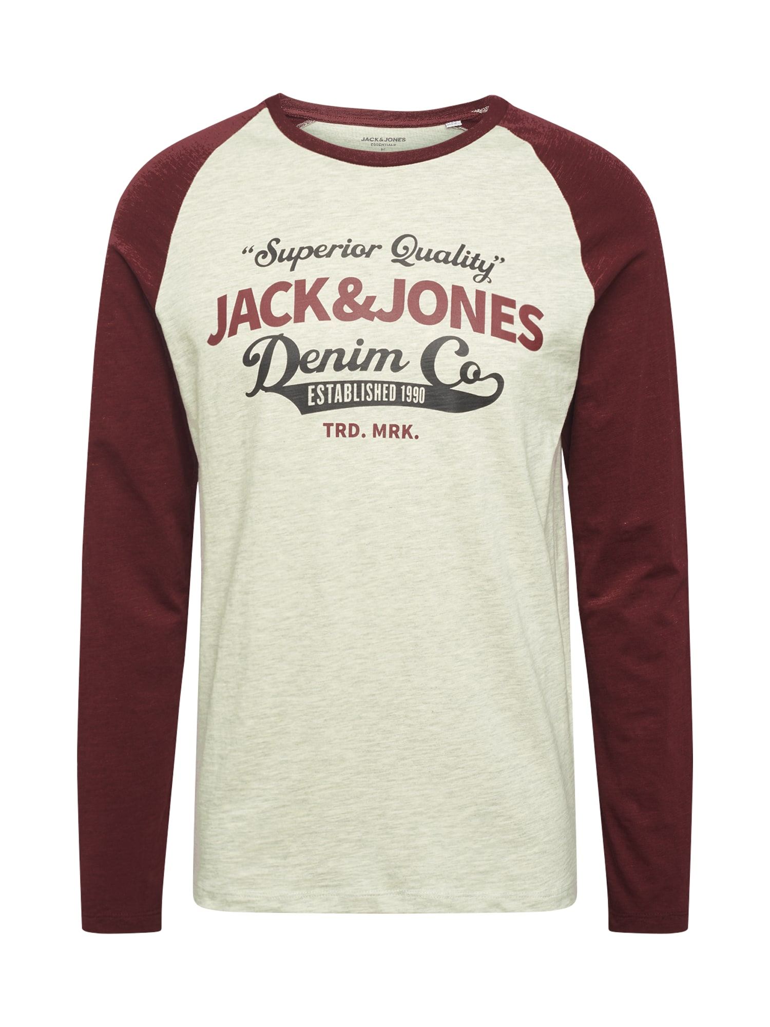 JACK & JONES Marškinėliai smėlio / vyno raudona spalva