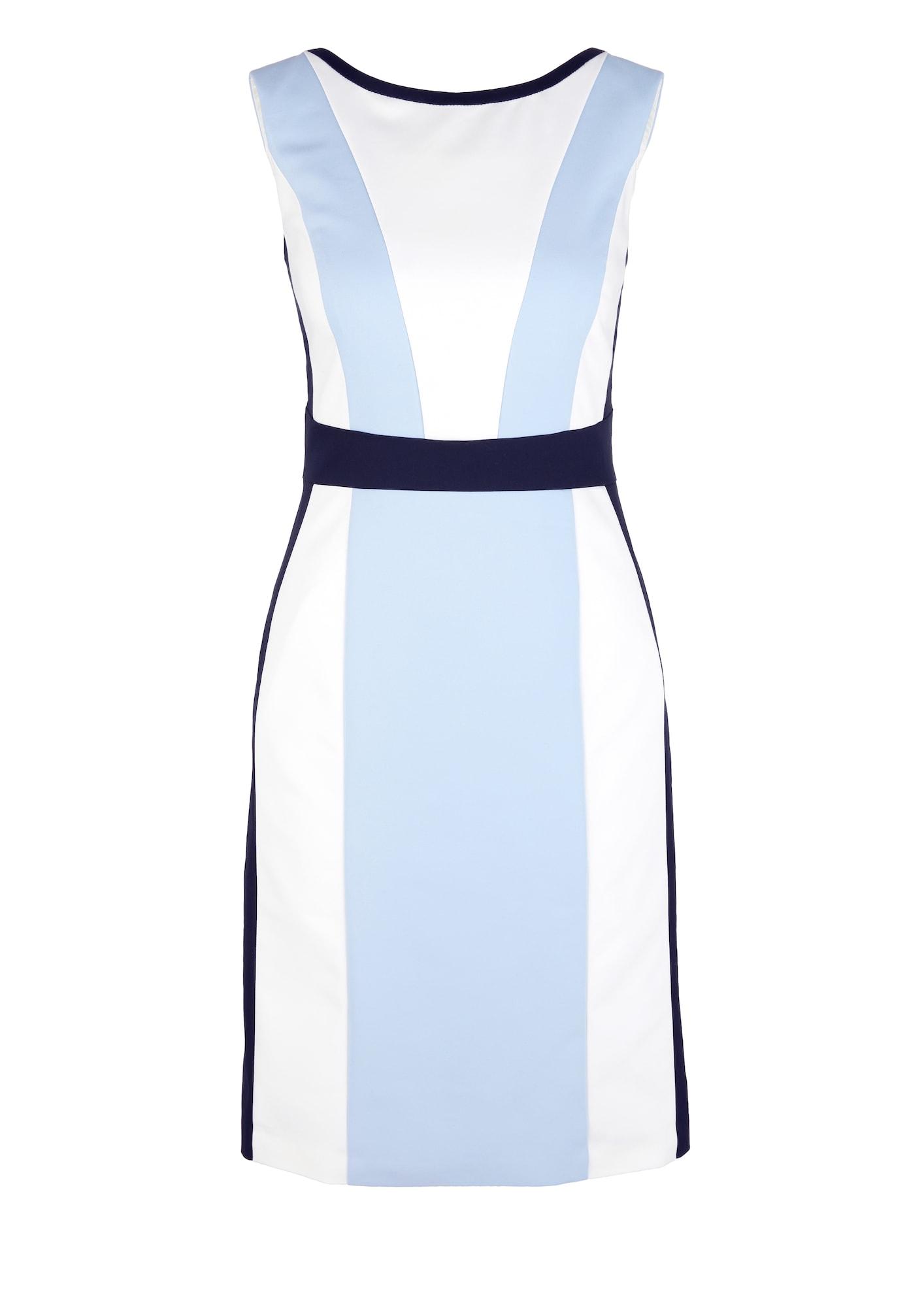 s.Oliver BLACK LABEL Trumpa kokteilinė suknelė šviesiai mėlyna / balta
