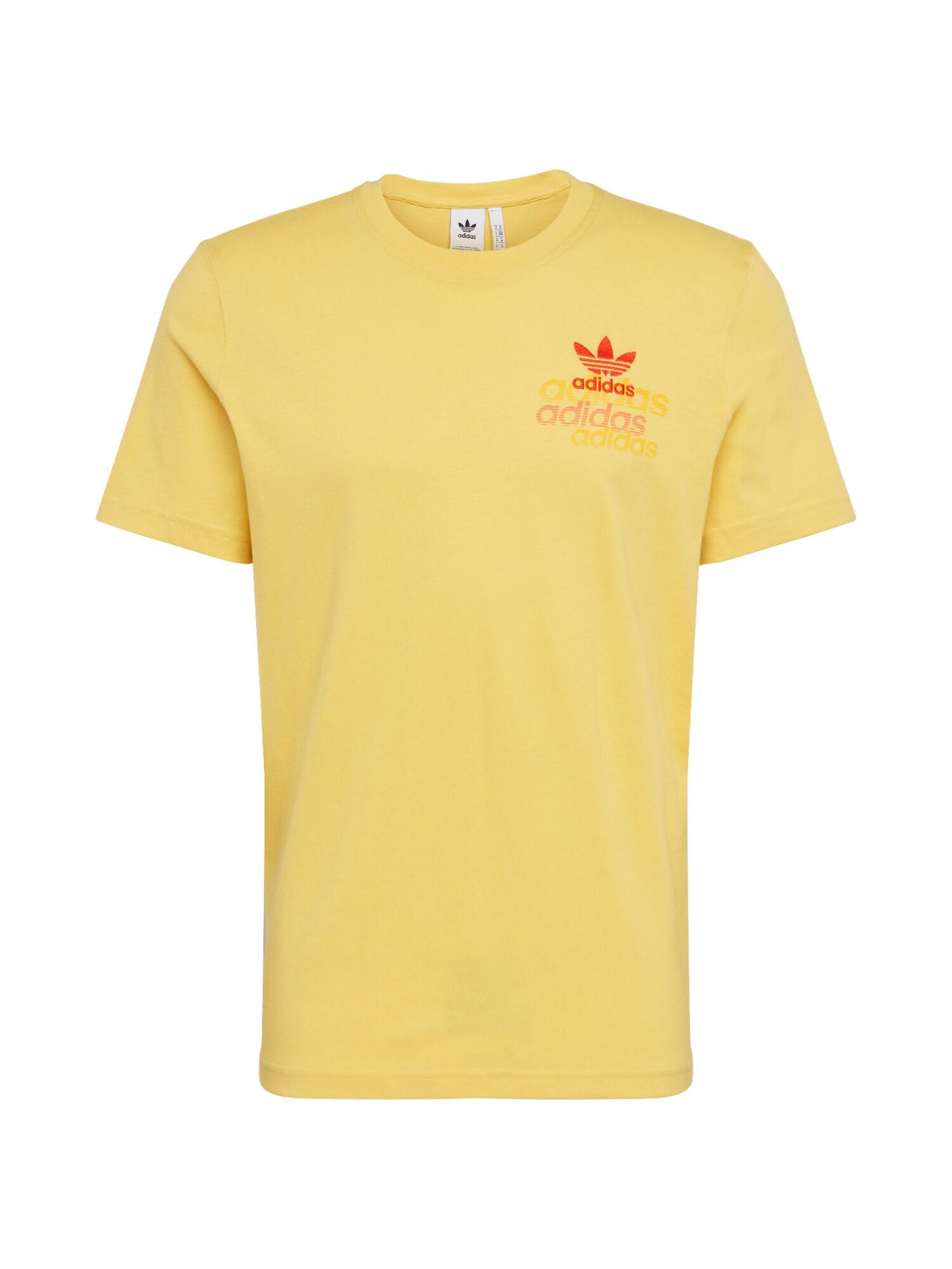 ADIDAS ORIGINALS Marškinėliai 'SHATTERED EMB' raudona / geltona