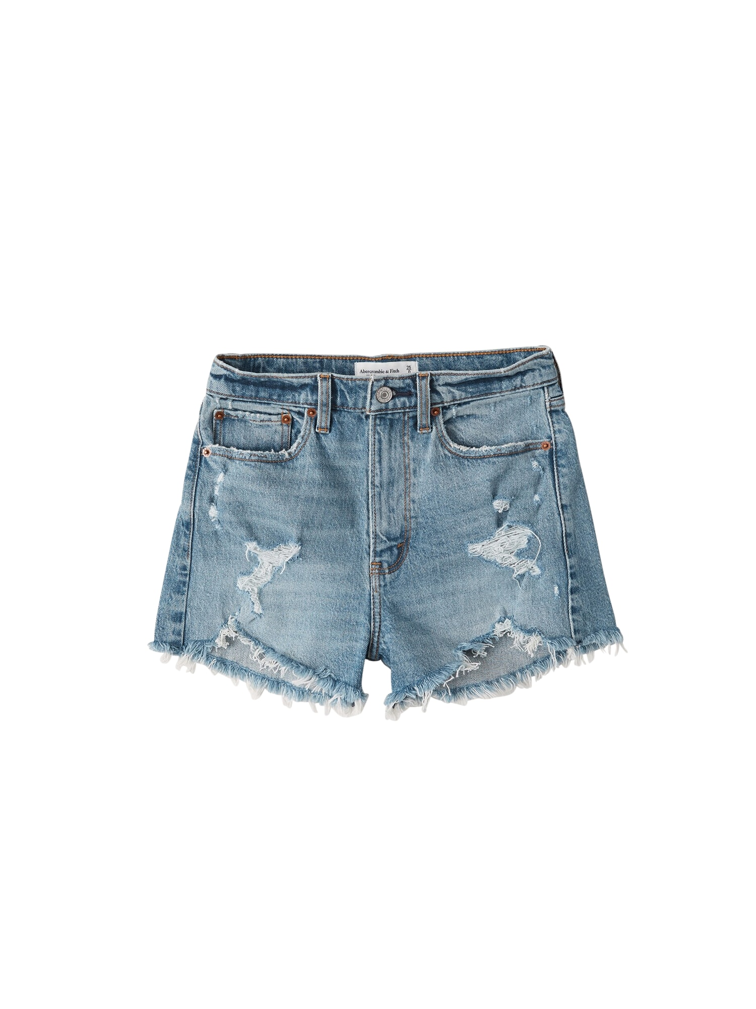 Abercrombie & Fitch Džinsai 'HIGH RISE DENIM SHORTS' tamsiai (džinso) mėlyna