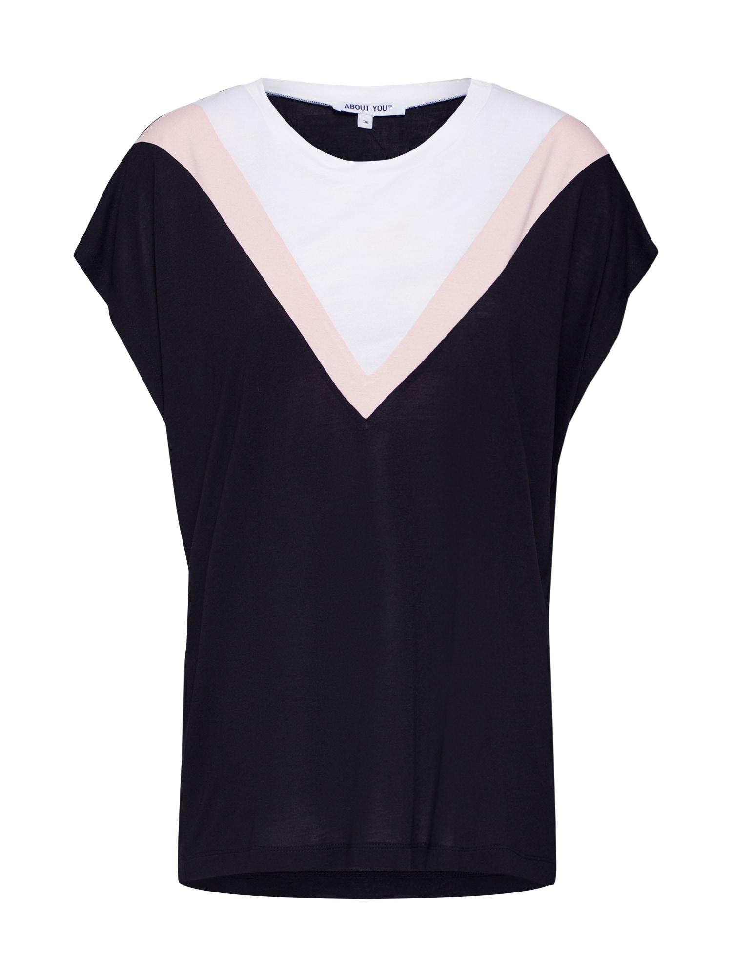 ABOUT YOU Marškinėliai 'Loana' rožių spalva / juoda / balta