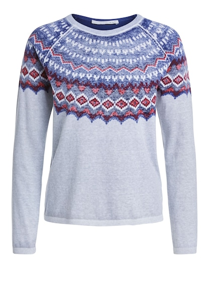 Oberteile - Strickpullover mit Norweger Muster › Oui › blau grau rot weiß  - Onlineshop ABOUT YOU