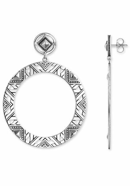 Ohrringe für Frauen - Thomas Sabo Paar Ohrstecker 'Afrika Ornamente, H1930 637 21' schwarz silber  - Onlineshop ABOUT YOU
