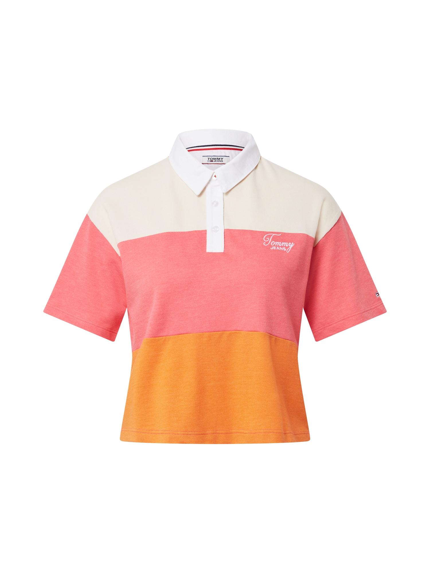 Tommy Jeans Marškinėliai oranžinė / balta / rožinė