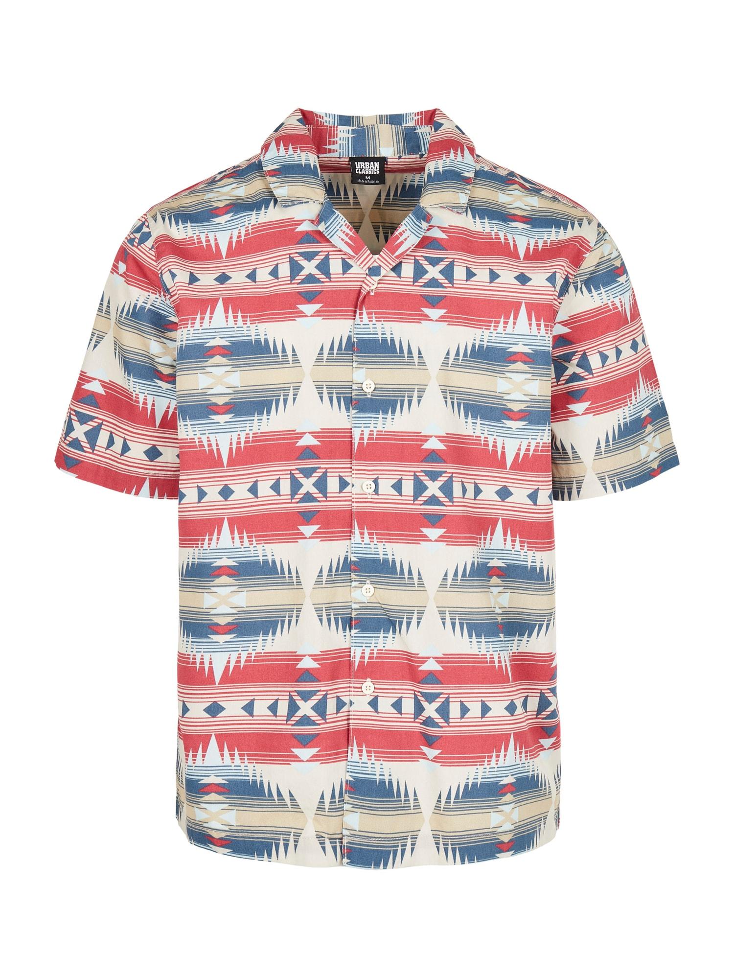 Urban Classics Marškiniai mėlyna / smėlio / raudona