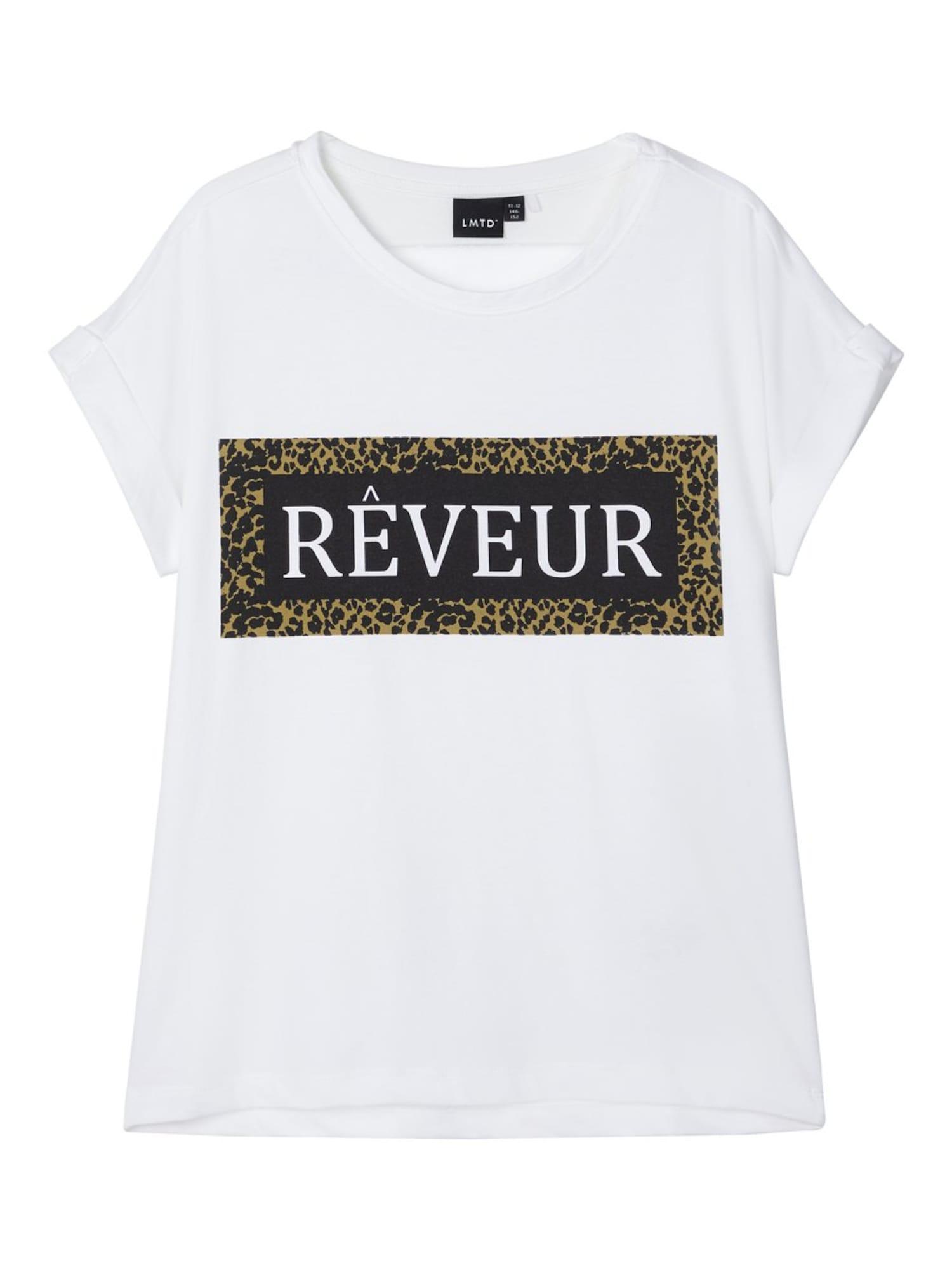 NAME IT Marškinėliai balta / nendrių spalva / juoda