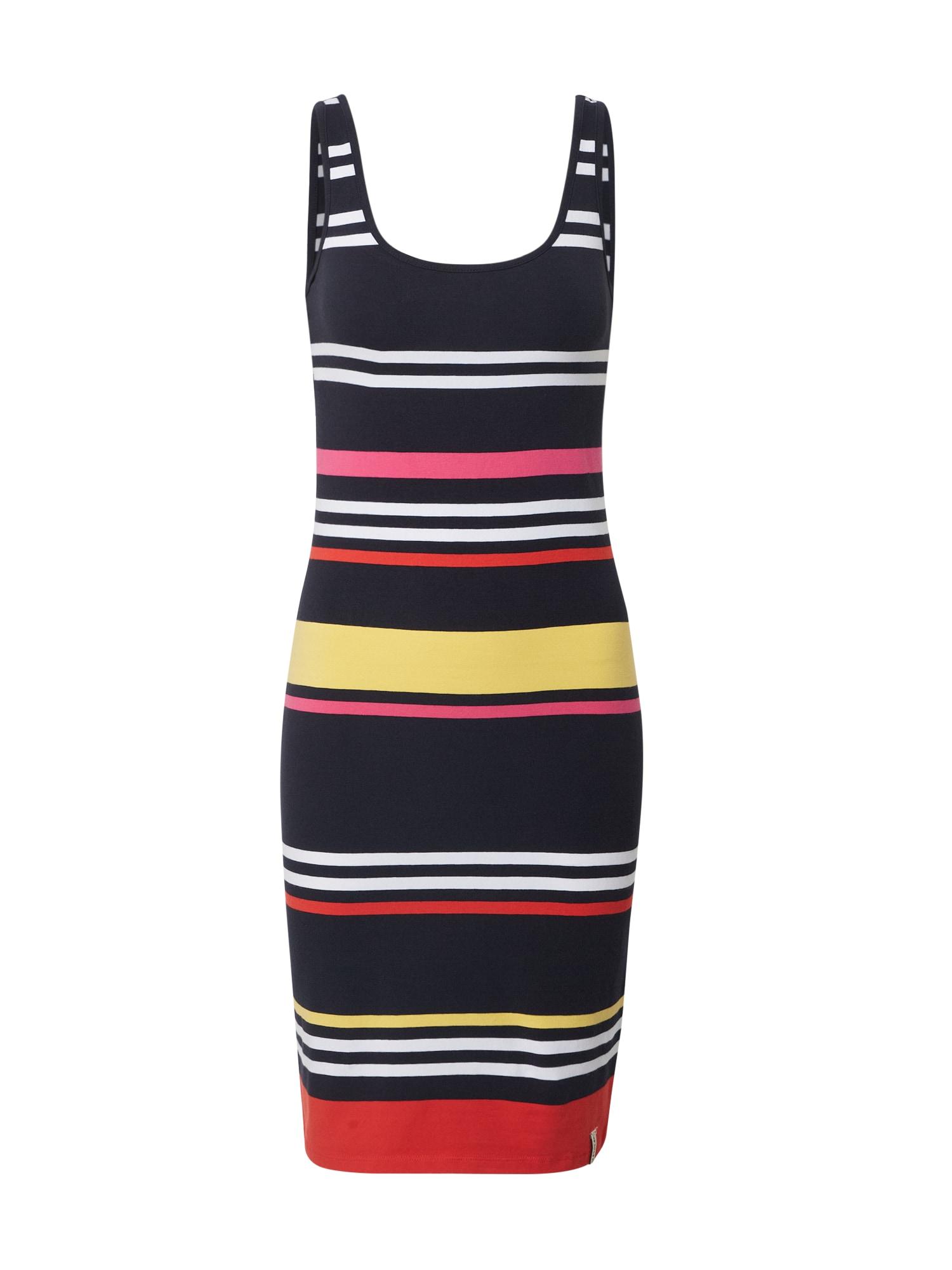 Superdry Vasarinė suknelė 'MIAMI' geltona / balta / tamsiai mėlyna / oranžinė