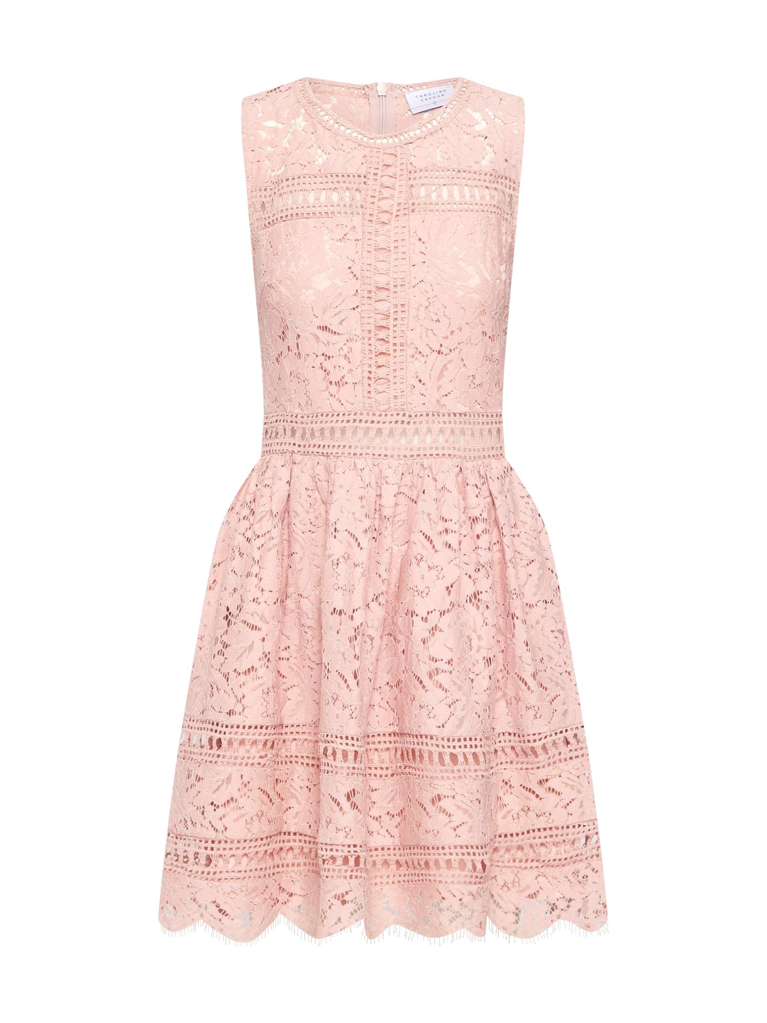 Koktejlové šaty Lace and embroidery pink Carolina Cavour