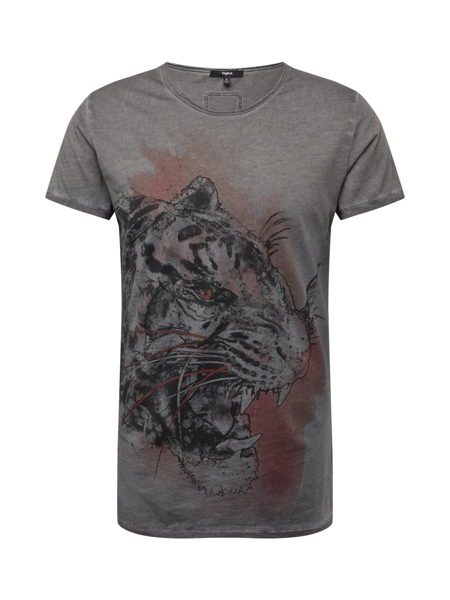 tigha Tričko 'Wild Tiger MSN'  sivá / červené / čierna
