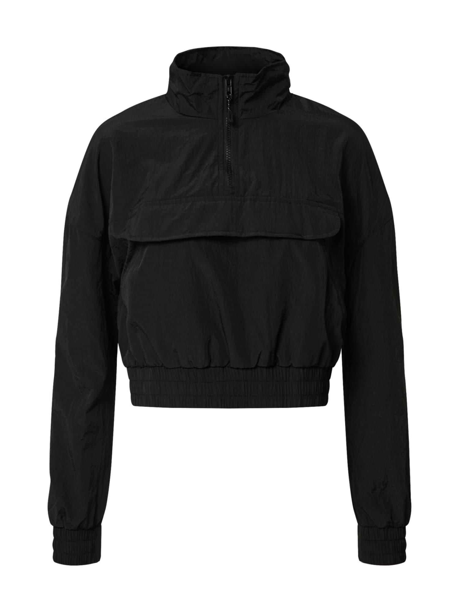 Urban Classics Prechodná bunda 'Ladies Cropped Crinkle Nylon Pull Over Jacket'  čierna