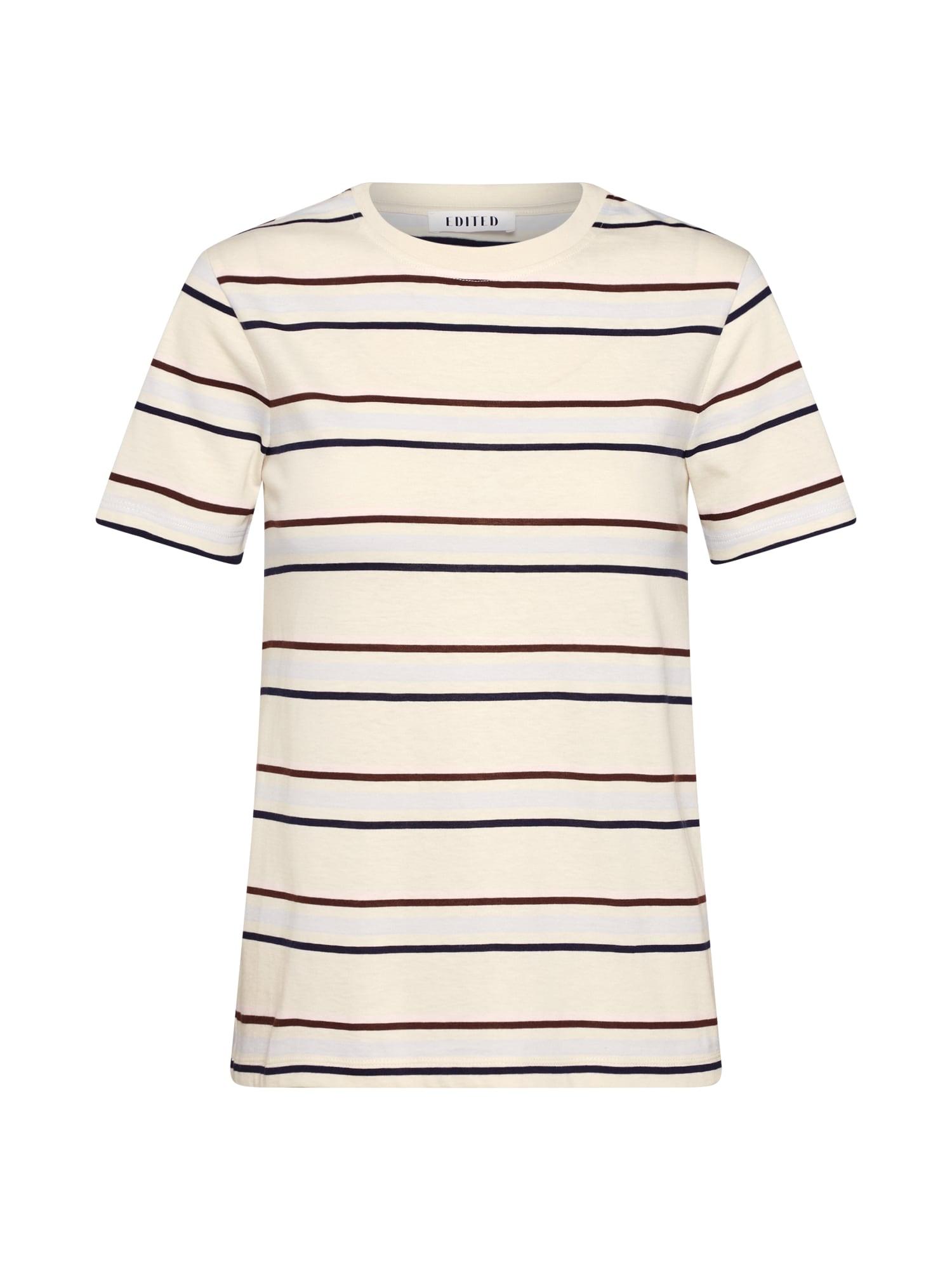 EDITED Marškinėliai 'Leila' smėlio / balta / ruda