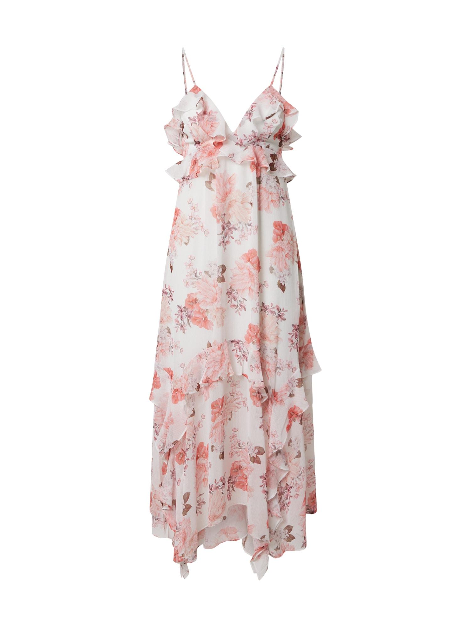 Forever New Šaty 'Ruffle Midi'  biela / ružová