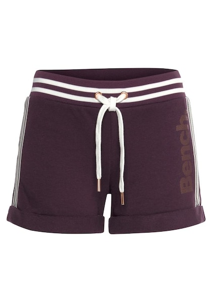 Hosen für Frauen - BENCH Sweatshorts aubergine weiß  - Onlineshop ABOUT YOU
