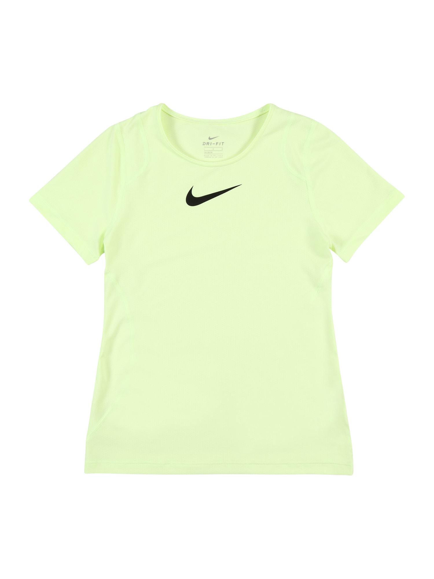 NIKE Sportiniai marškinėliai juoda / neoninė geltona