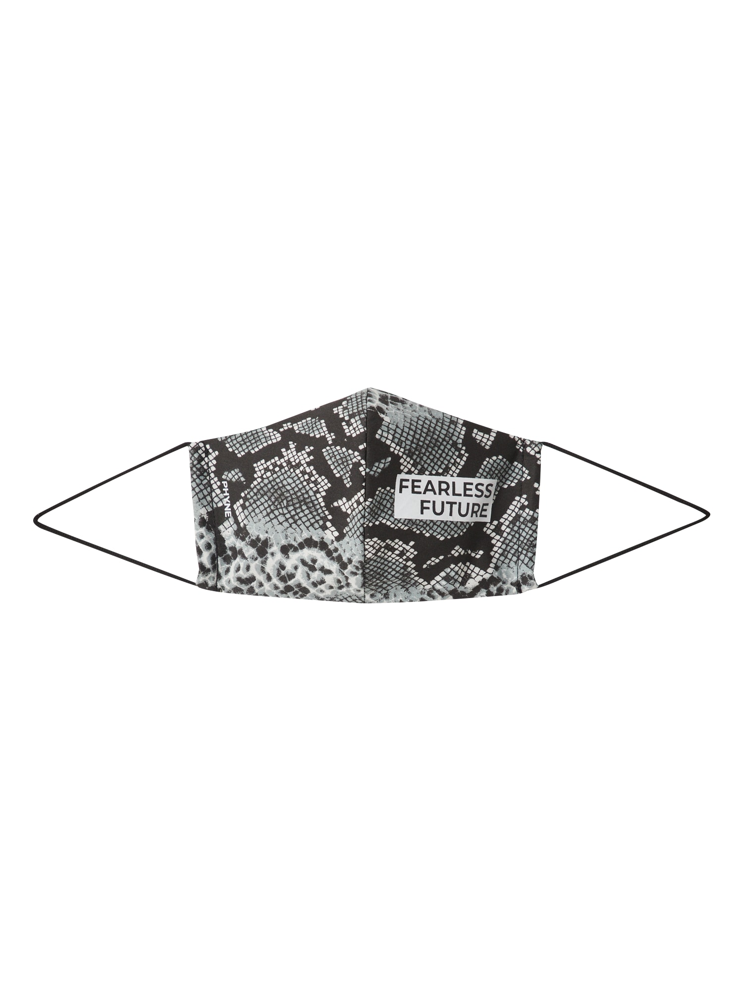 PHYNE Látkové rúško 'Fearless Future'  biela / čierna