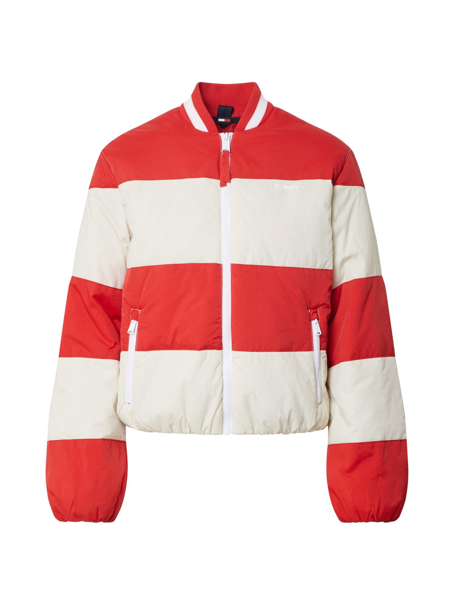 Tommy Jeans Prechodná bunda 'TJW COLORBLOCK TRACK'  červená / biela