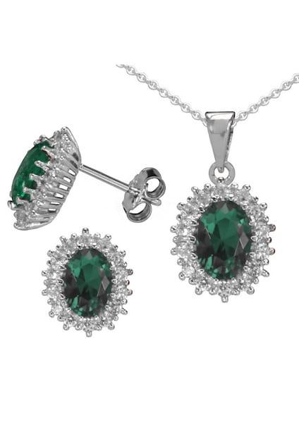 Schmucksets für Frauen - FIRETTI Ohrstecker und Halskette ''Smaragd Optik'' (4tlg.) dunkelgrün silber  - Onlineshop ABOUT YOU