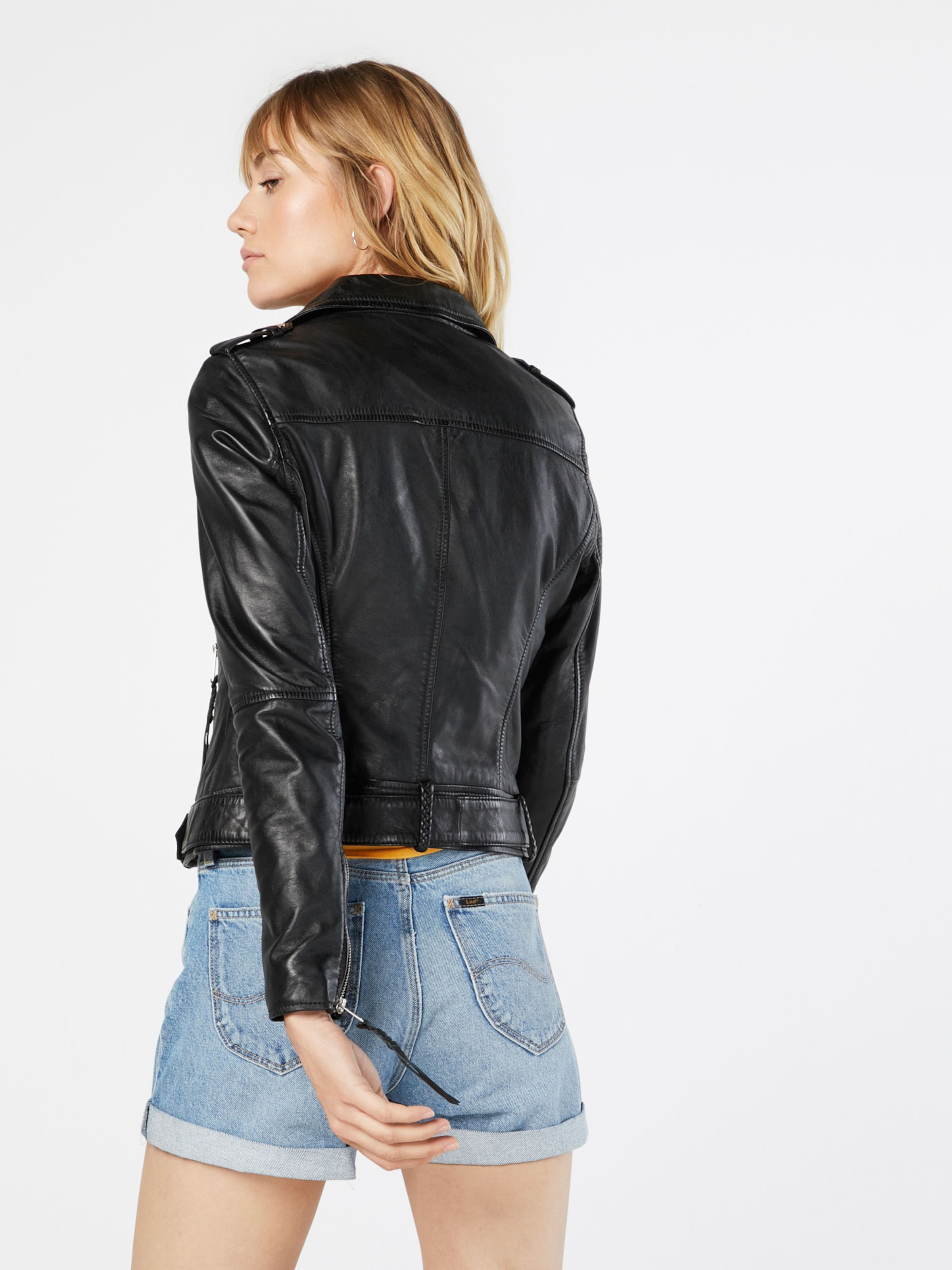 Review Damen Lederjacke Belted Biker schwarz | 04060479043898