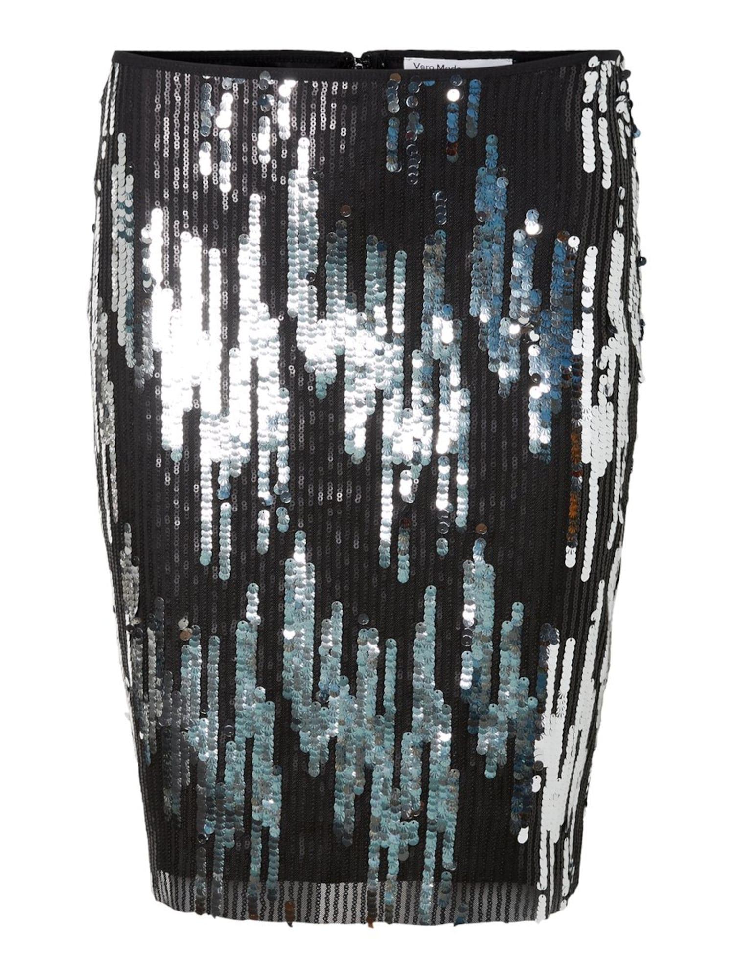 Vero Moda Copenhagen STUDIO Sukně 'MIRA'  černá / stříbrná