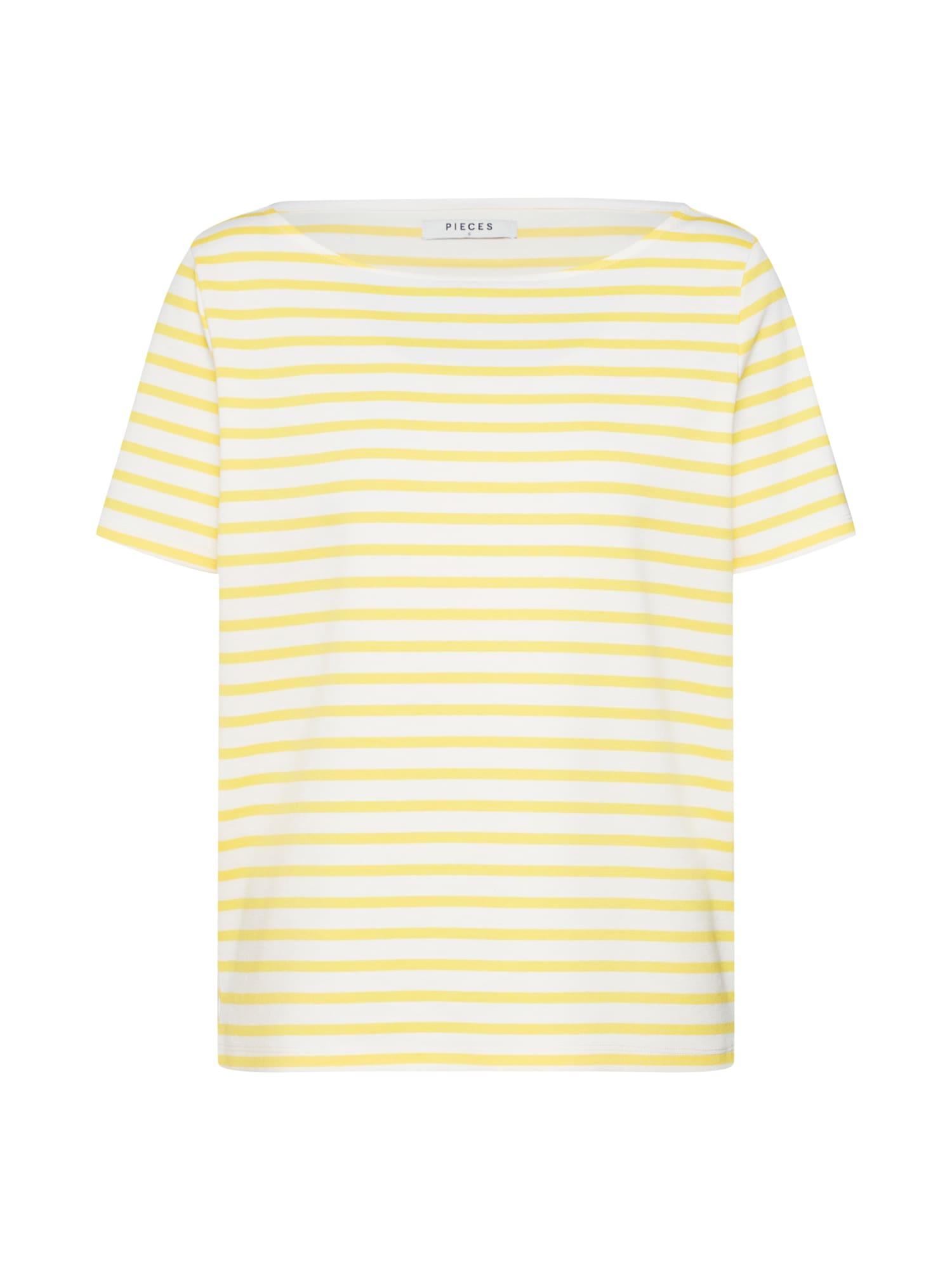PIECES Tričko 'Ingrid'  žltá / biela