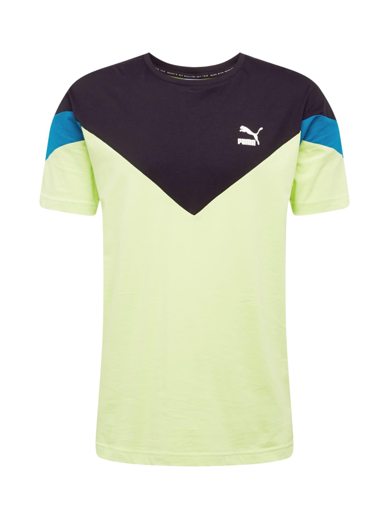PUMA Sportiniai marškinėliai neoninė žalia / nakties mėlyna / mėlyna