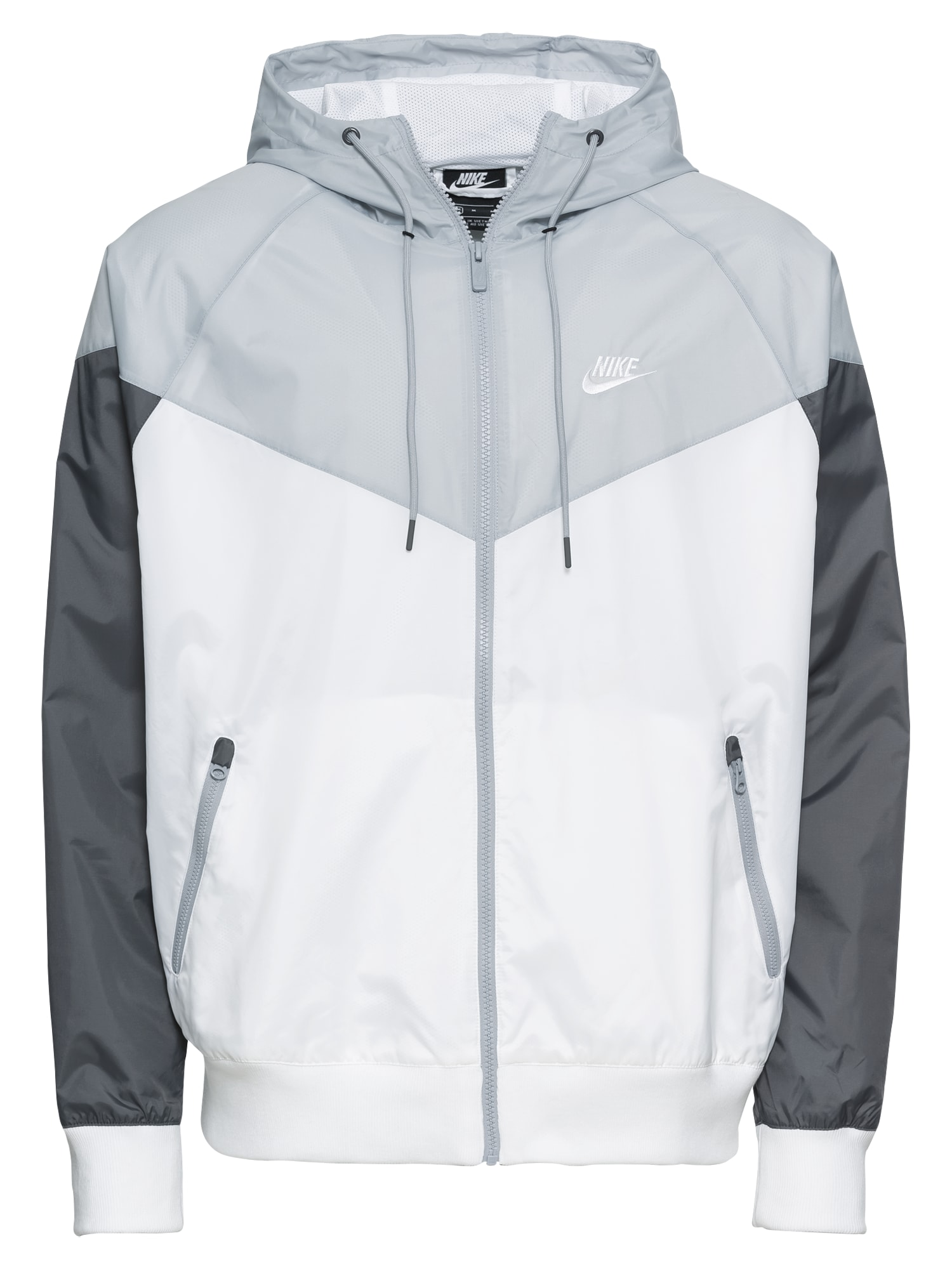 Nike Sportswear Demisezoninė striukė balta / pilka / tamsiai pilka