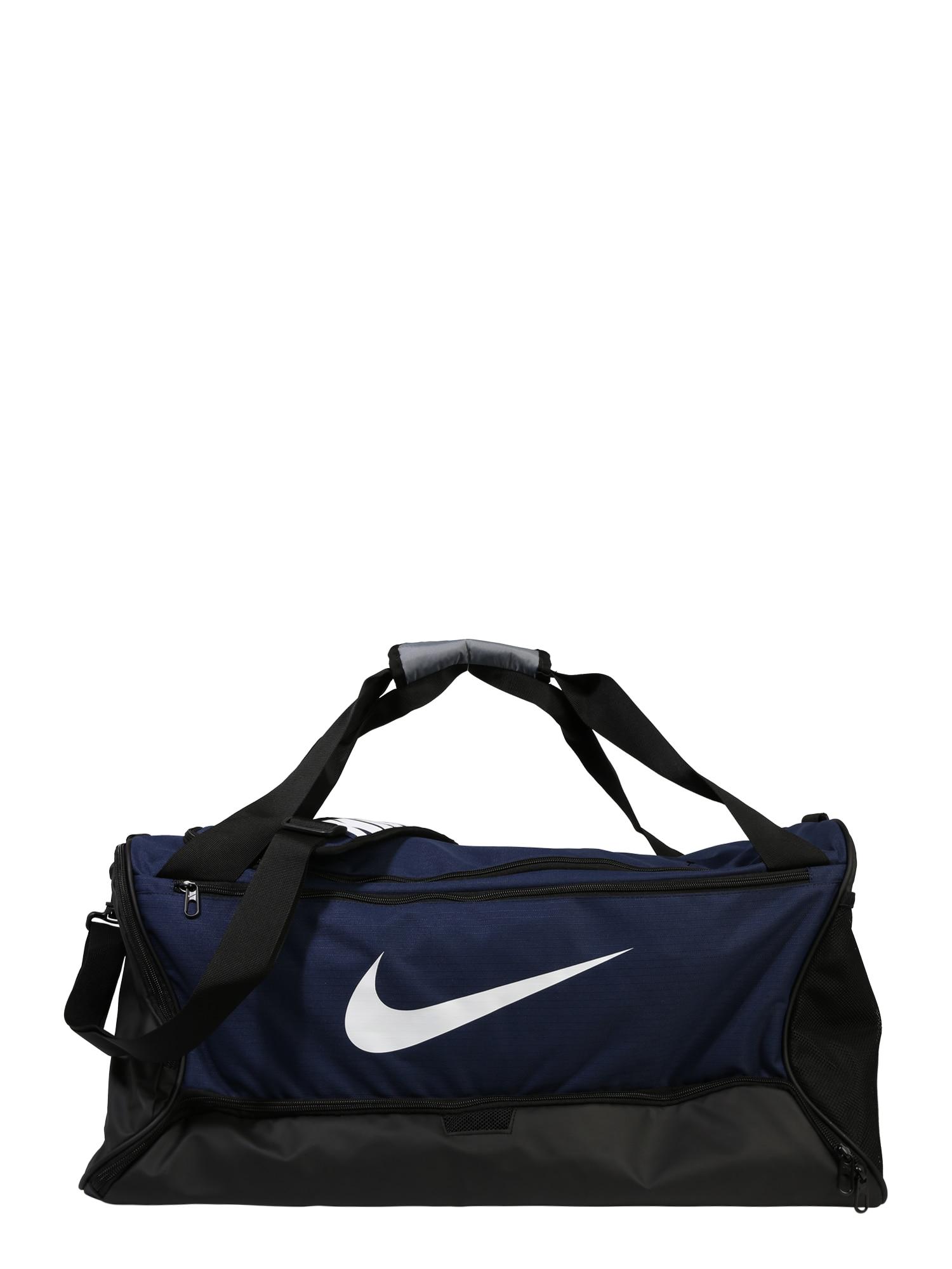 NIKE Sportinis krepšys 'BRSLA M DUFF - 9.0' balta / tamsiai mėlyna