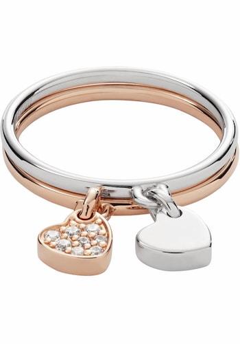 Ringe für Frauen - FOSSIL Ring Set 'Herz, STERLING, JFS00441998' (Set, 2 tlg.) rosegold silber  - Onlineshop ABOUT YOU