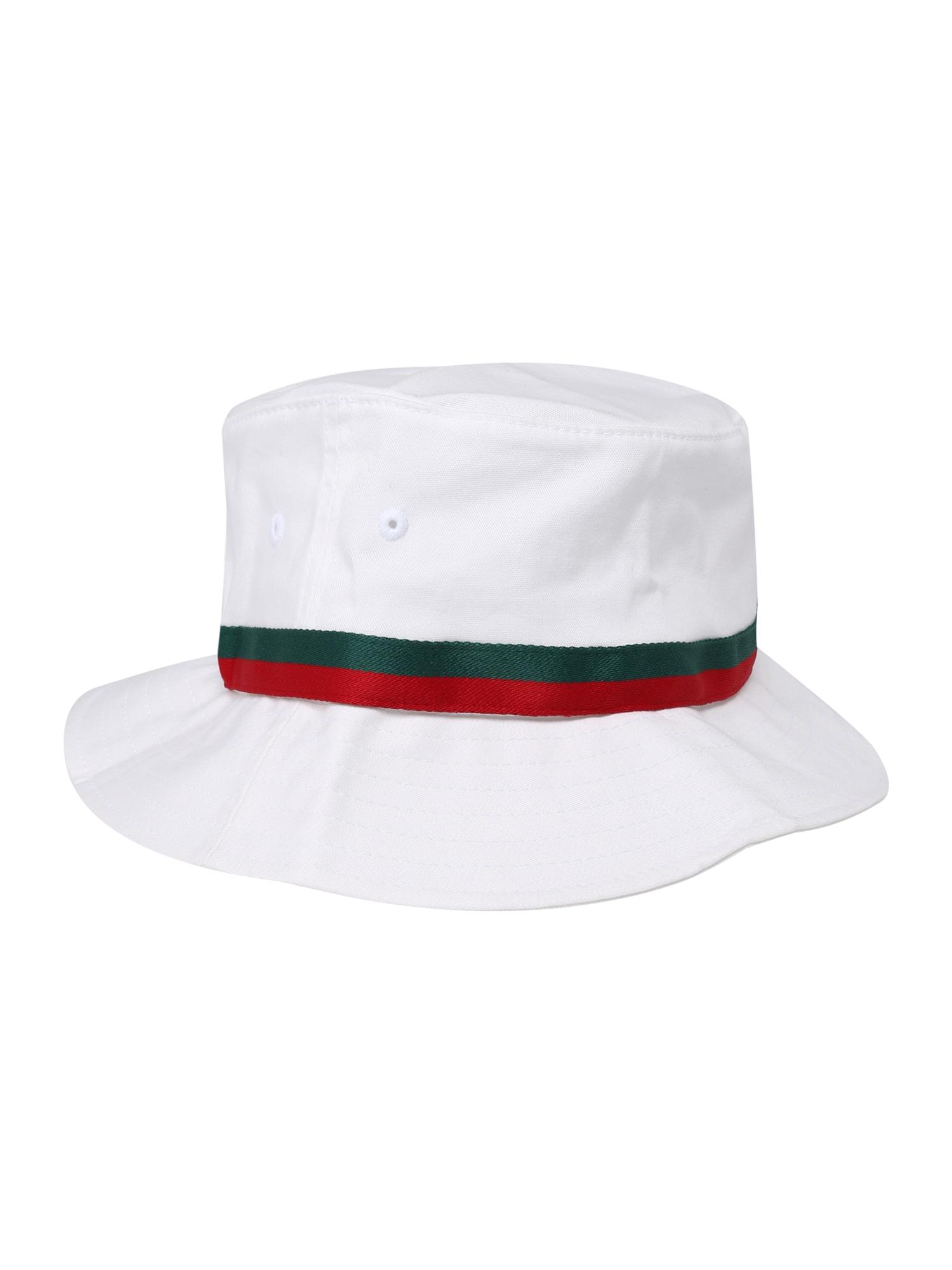 Klobouk Stripe Bucket Hat zelená červená bílá Flexfit