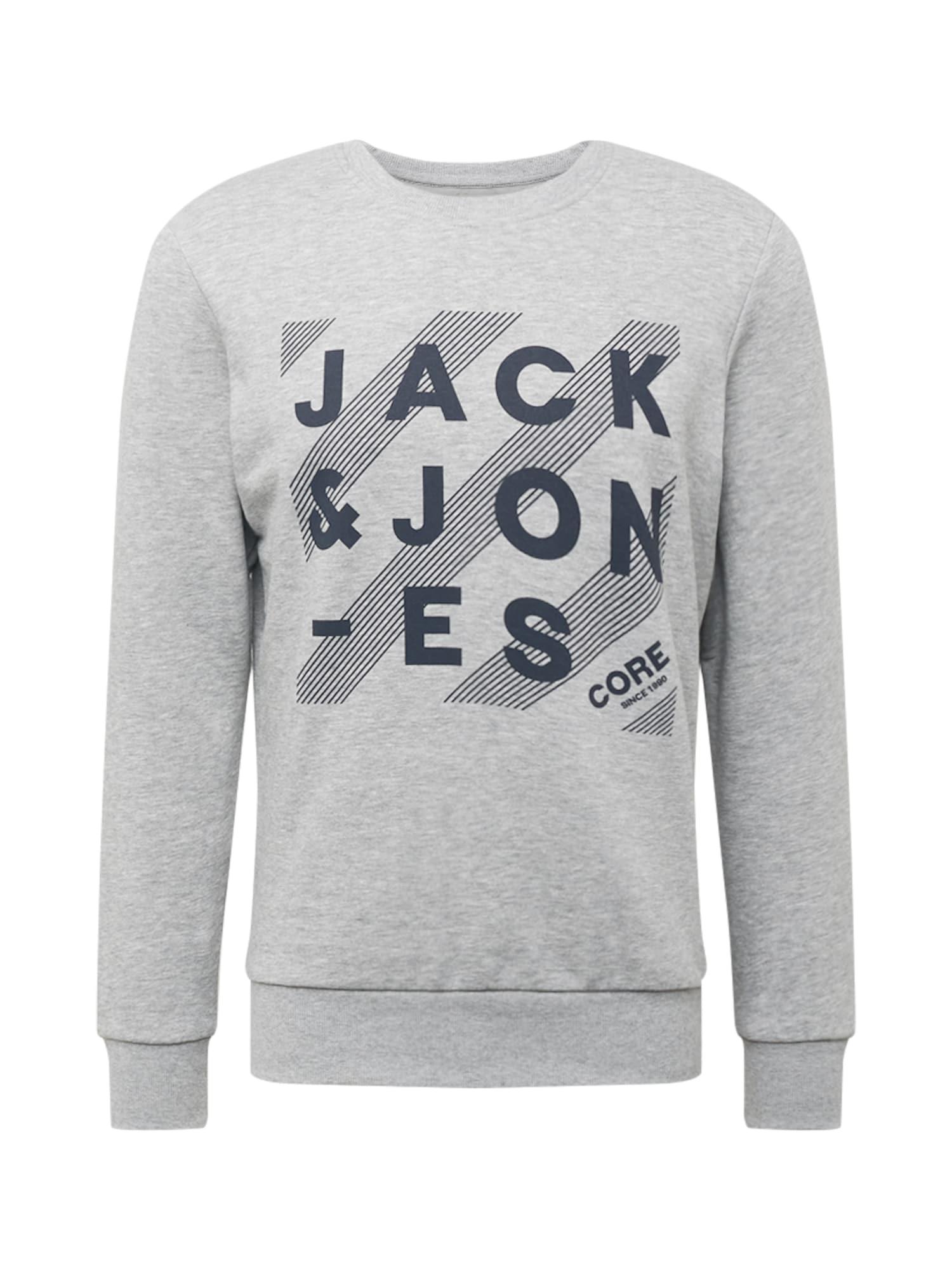 JACK & JONES Mikina 'HERO'  šedý melír / marine modrá