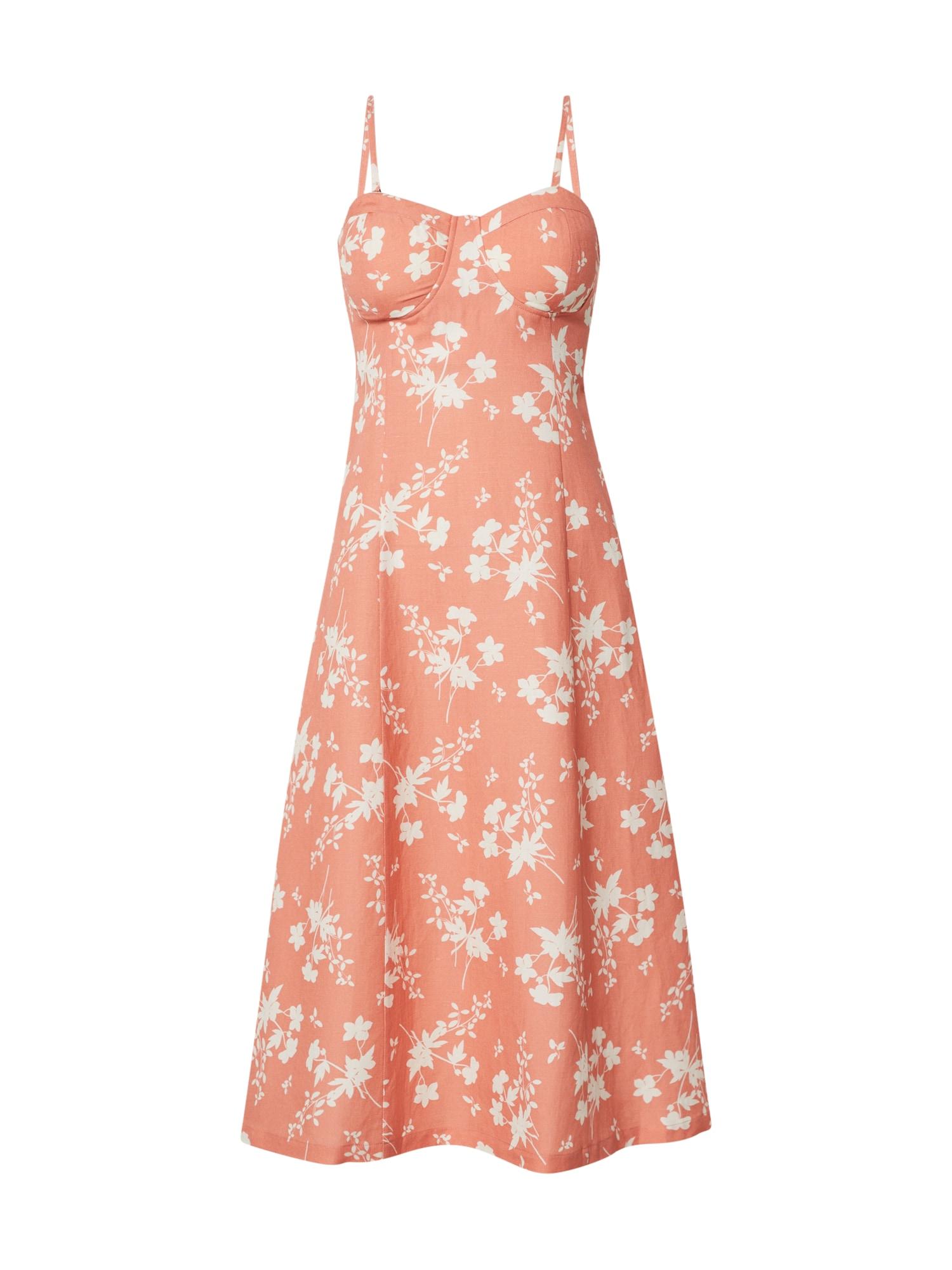EDITED Vasarinė suknelė 'Yumiko' šviesiai oranžinė / balta