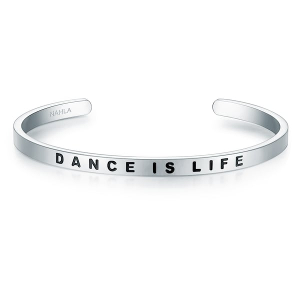 Armbaender für Frauen - Armband Bangle mit DANCE IS LIFE Schriftzug › Nahla Jewels › schwarz silber  - Onlineshop ABOUT YOU