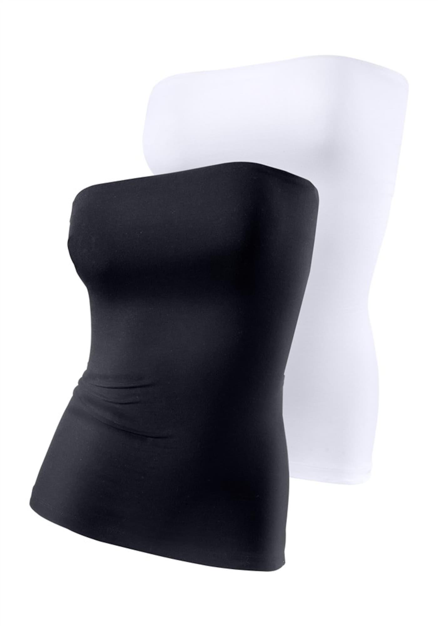 LASCANA Palaidinė be rankovių juoda / balta