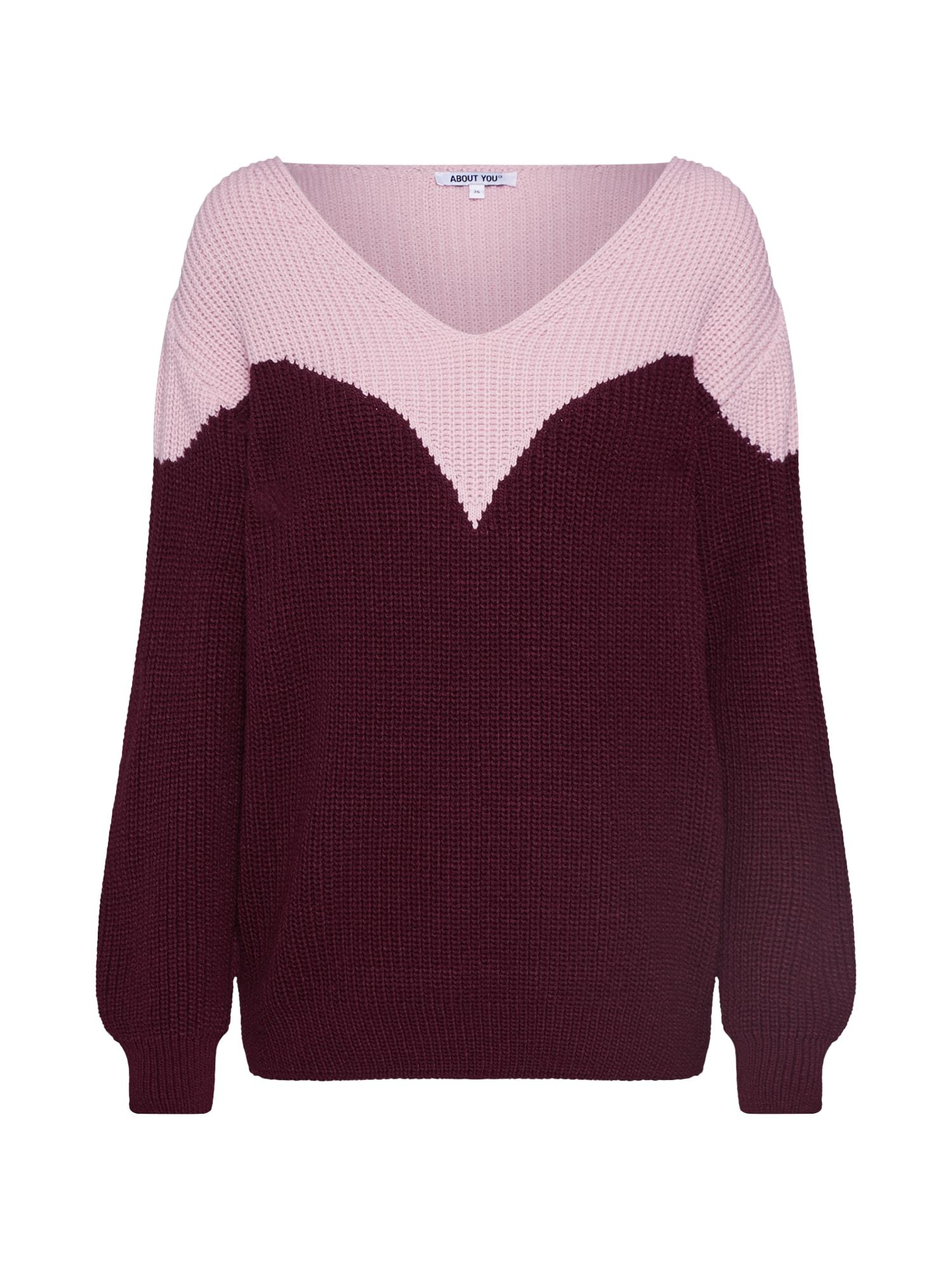 ABOUT YOU Megztinis 'Hanke' rožių spalva / vyšninė spalva