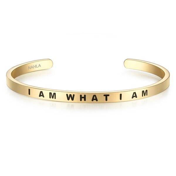 Armbaender für Frauen - Nahla Jewels Armband mit Schriftzug I AM WHAT I AM gold schwarz  - Onlineshop ABOUT YOU