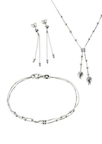 Armbaender für Frauen - FIRETTI Schmuckset Halskette, Armband und Ohrstecker (Set 4tlg.) silber  - Onlineshop ABOUT YOU