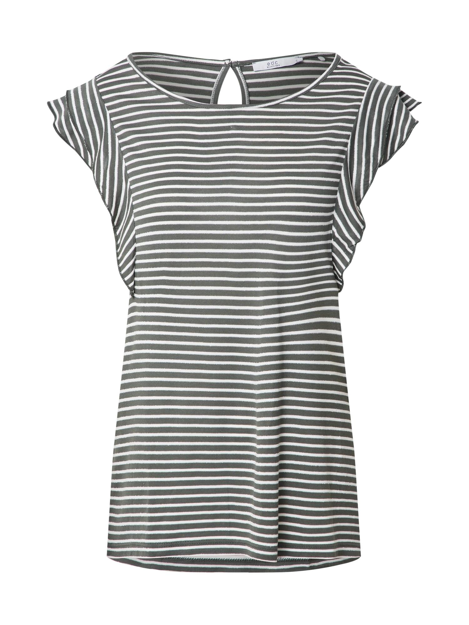 EDC BY ESPRIT Marškinėliai 'frill Strp Top T-Shirts sleeveless' rusvai žalia