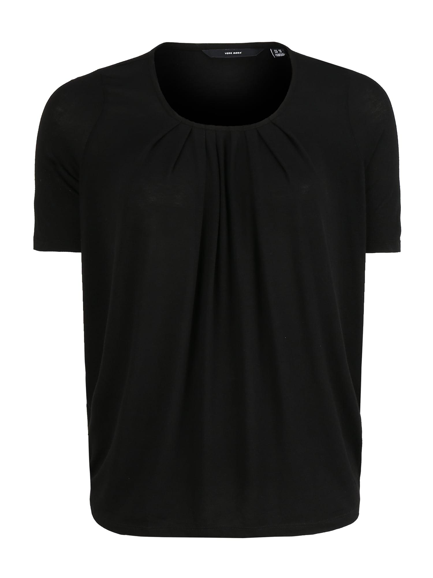 Vero Moda Curve Tričko 'VMHONEY SS PLEAT TEE GA VO CURVE'  čierna