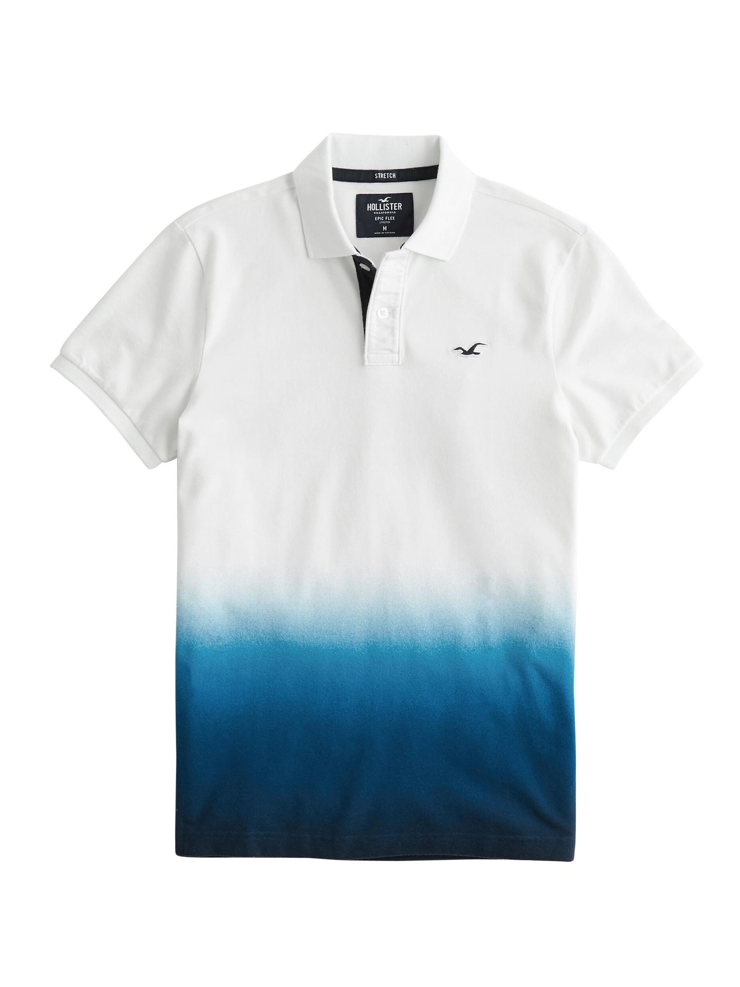 HOLLISTER Marškinėliai balta / tamsiai mėlyna