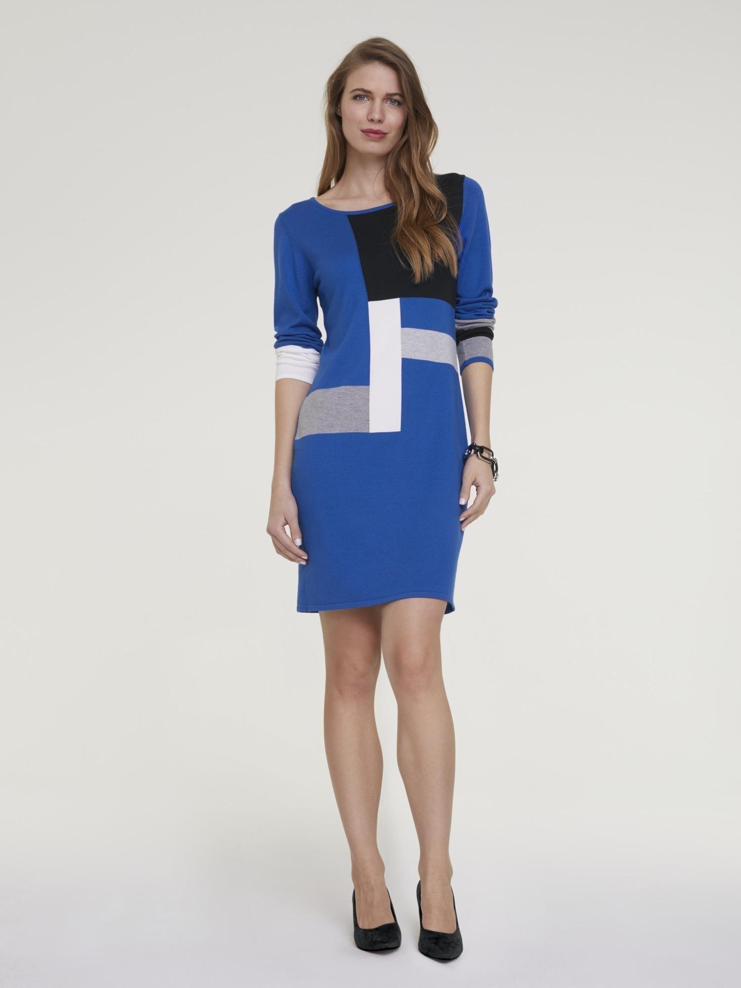 heine Megzta suknelė tamsiai mėlyna jūros spalva / pilka / balta