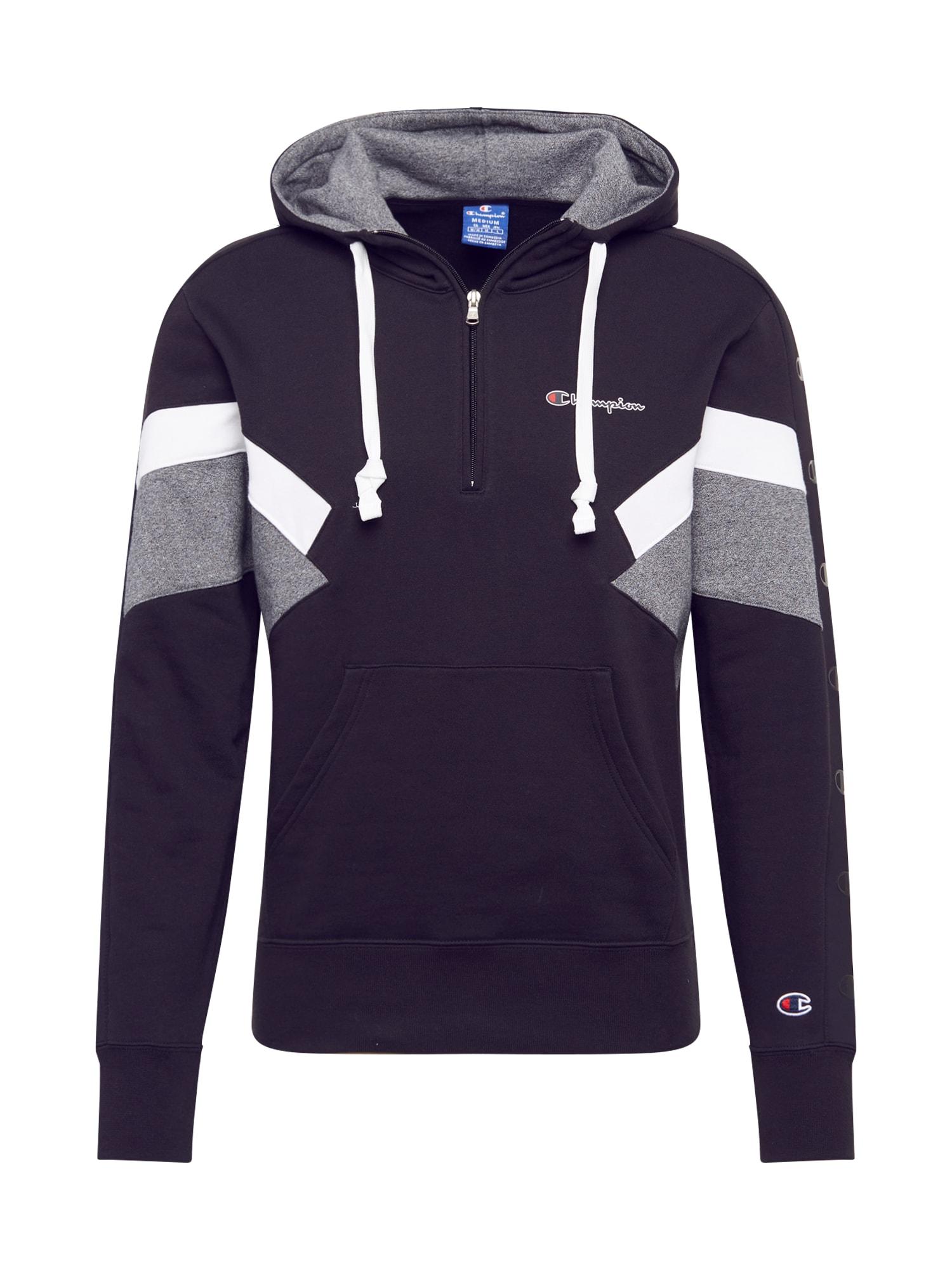 Champion Authentic Athletic Apparel Megztinis be užsegimo margai pilka / tamsiai mėlyna jūros spalva / balta