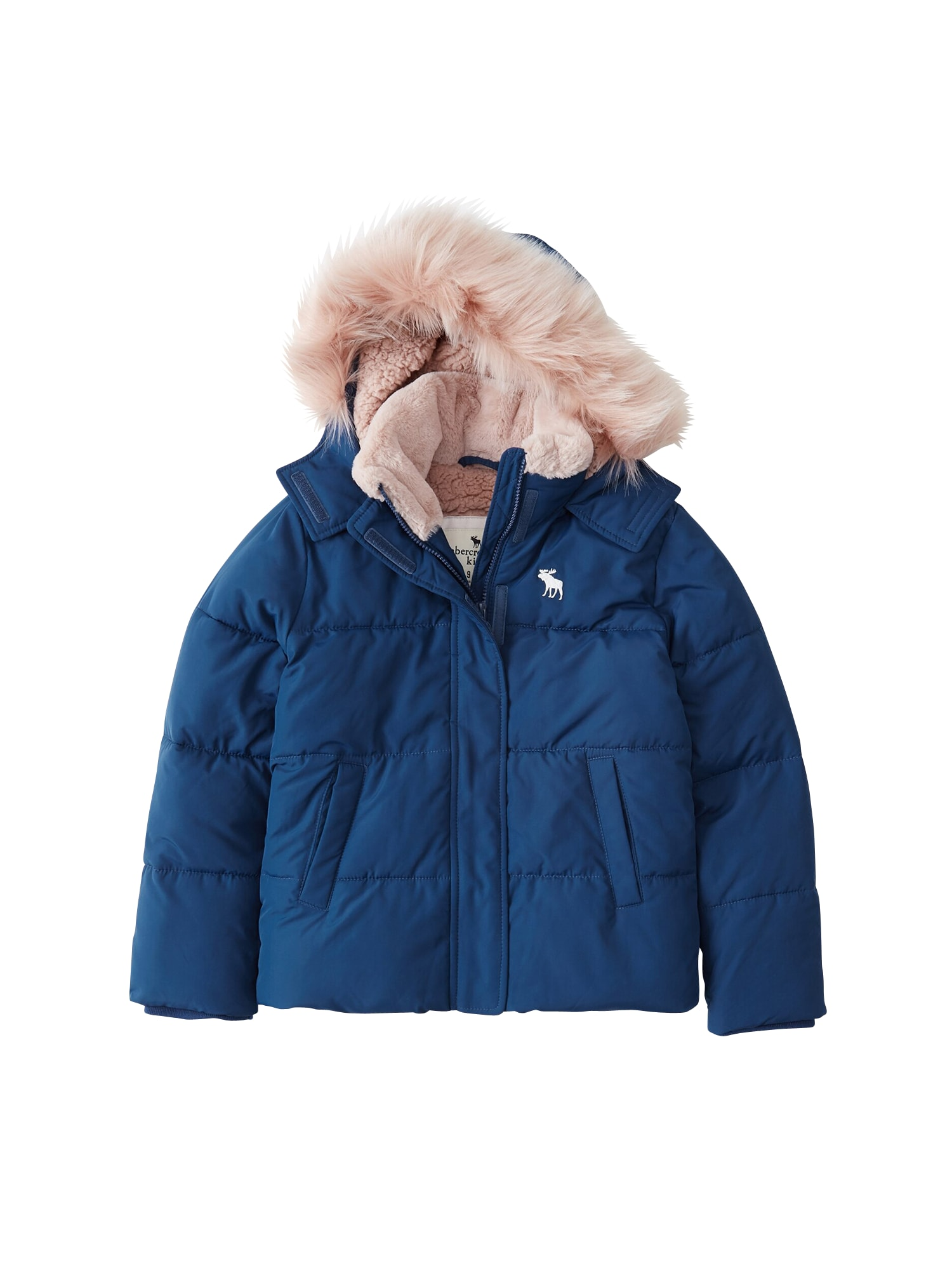 Abercrombie & Fitch Žieminė striukė 'ESSENTIAL PUFFER DTC EXT 1CC' mėlyna / juoda
