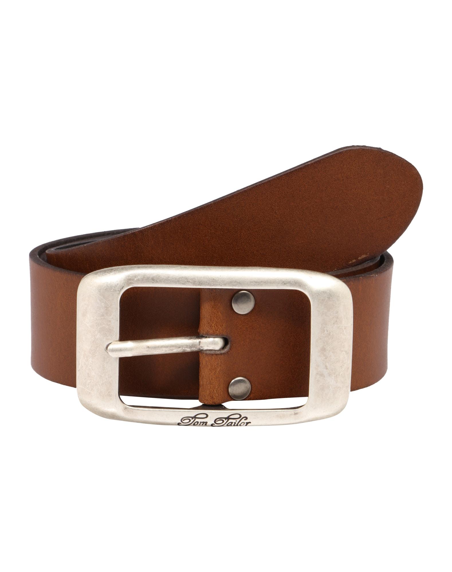TOM TAILOR Opasky 'used cow leather belt'  koňak