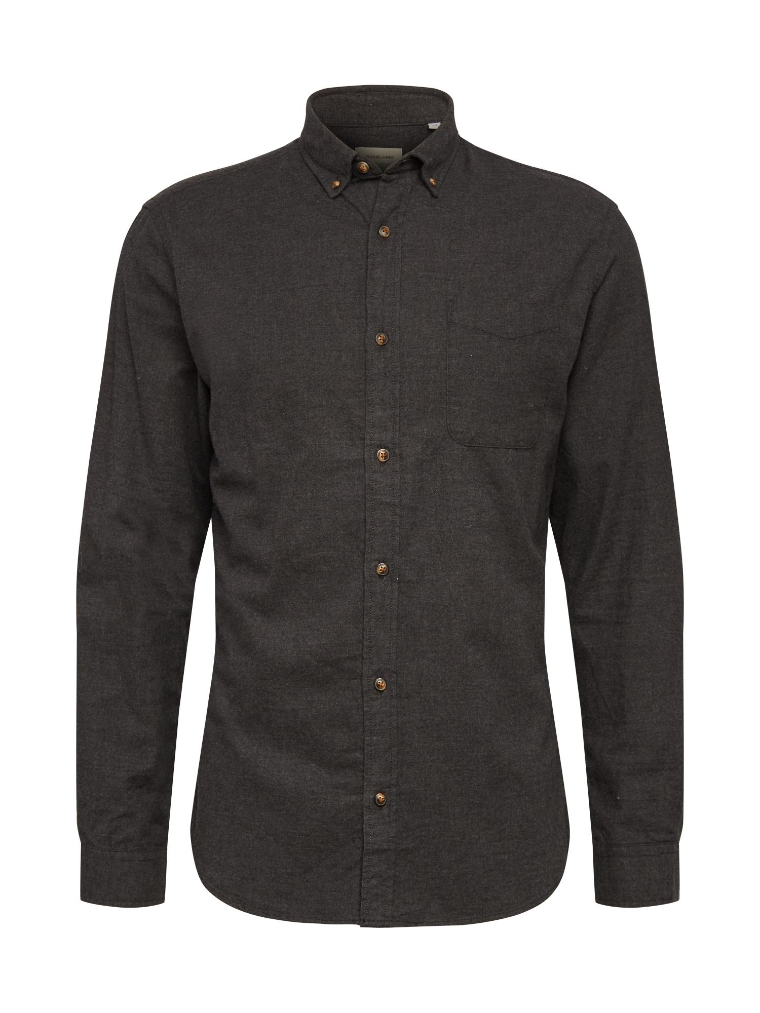 JACK & JONES Marškiniai tamsiai pilka